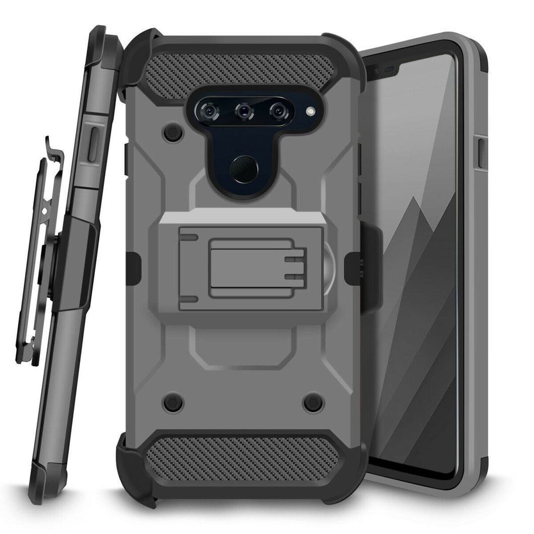 Storm Tank Rugged Armor LG V40 ThinQ Case Holster - Gray