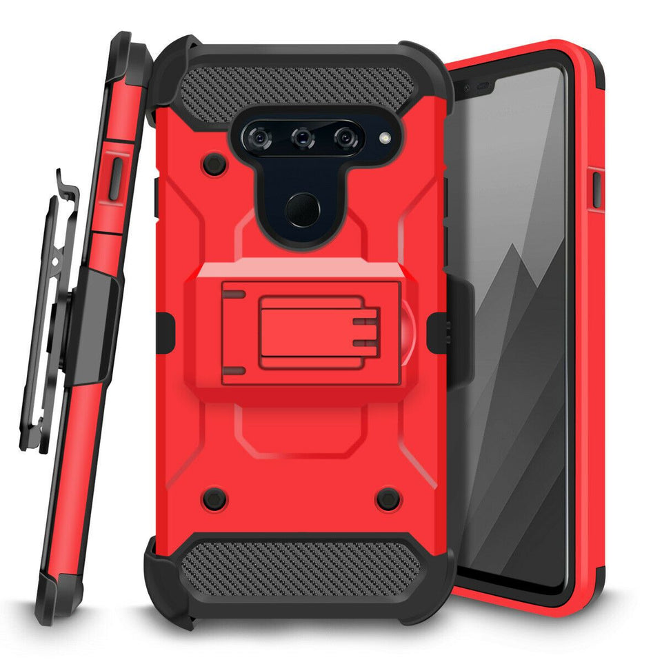 Storm Tank Rugged Armor LG V40 ThinQ Case Holster - Red