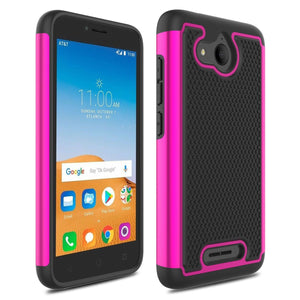 Grippy Shockproof Alcatel TETRA Case - Rose Pink/Black