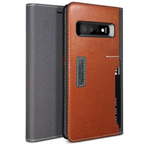 Obliq Premium K3 Wallet Galaxy S10 Case - Gray/Brown