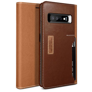 Obliq Premium K3 Wallet Galaxy S10 Case - Brown/Burgundy
