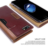 Obliq Italian Leather Wallet iPhone 7 / 8 / SE 2020 Case - Brown Burgundy