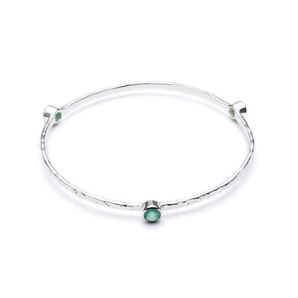 Stacking Bangle with semi-precious stones (silver/aqua chalcedony)