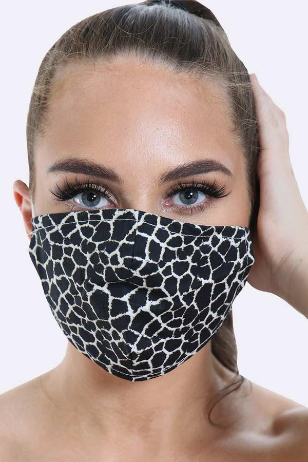Cotton Face Mask - Giraffe Print