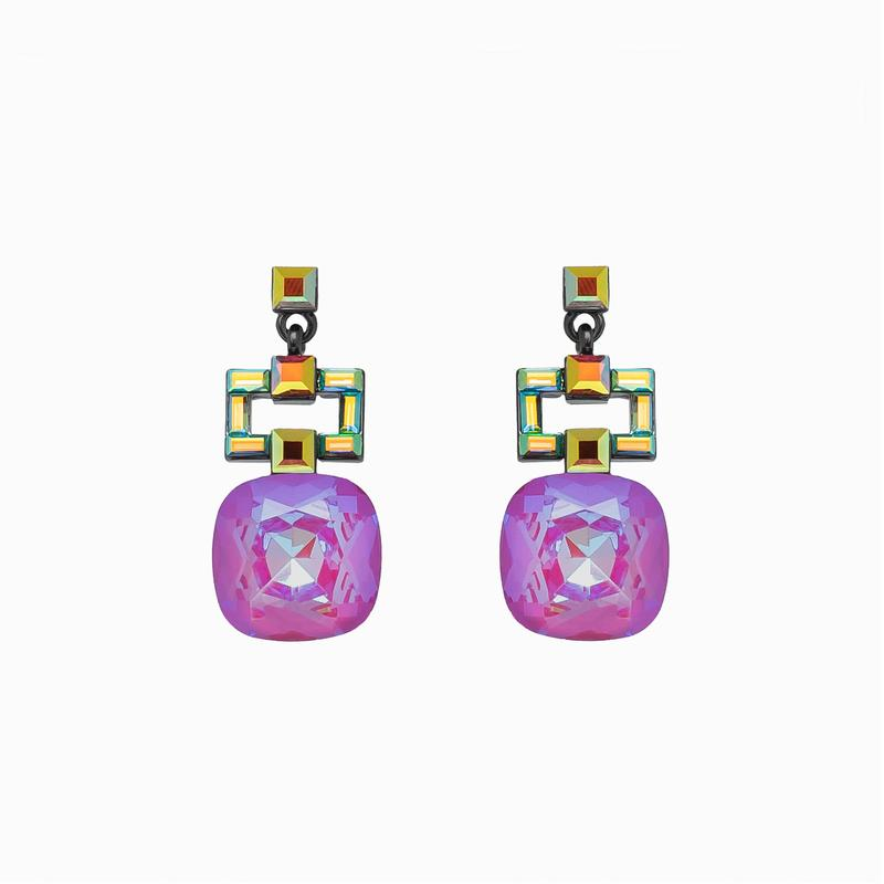 ART DECO CRYSTAL DROP EARRINGS - Pink
