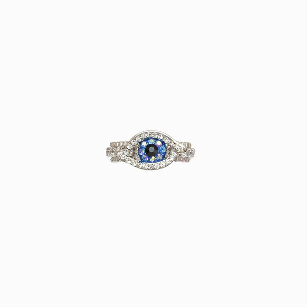 ADJUSTABLE CRYSTAL CHAIN EYE RING