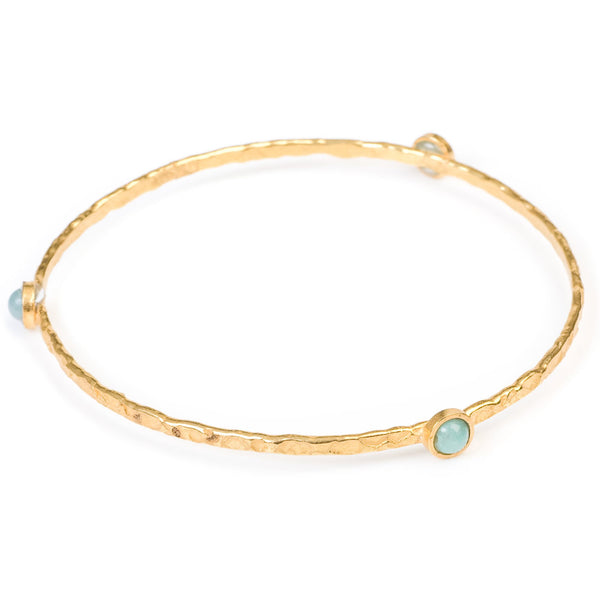 Stacking Bangle with semi-precious stones (gold/aqua chalcedony)