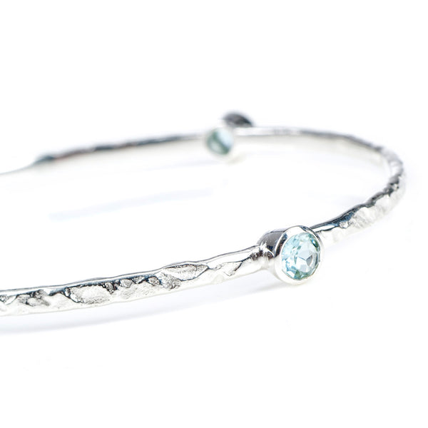 Stacking Bangle with semi-precious stones (silver/blue topaz)