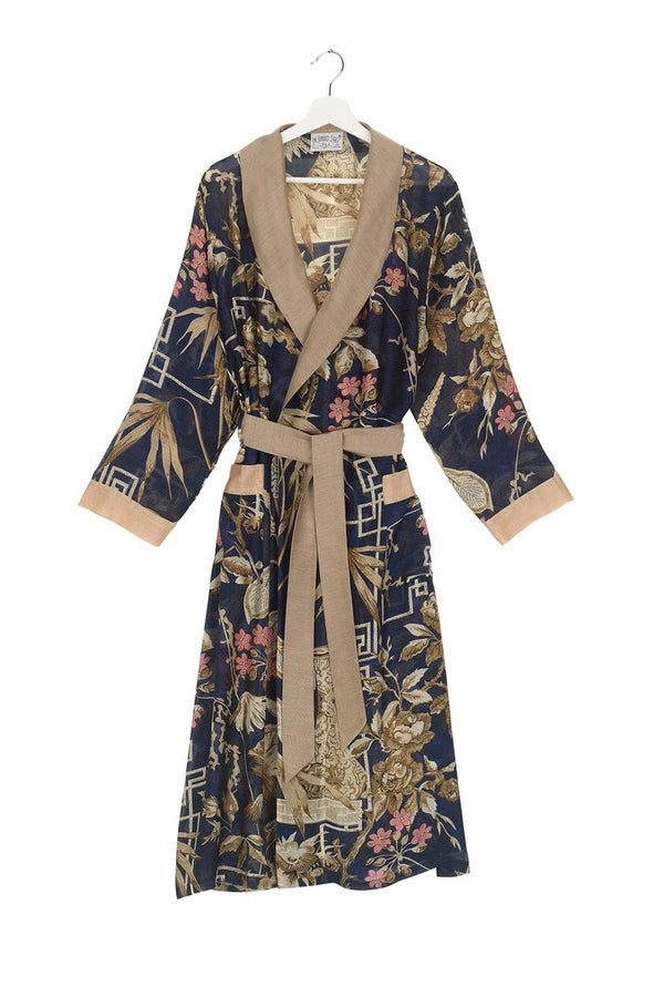 BAMBOO DRESSING GOWN INDIGO
