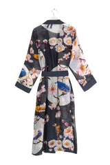 Blossom and Birds Dressing Gown Charcoal