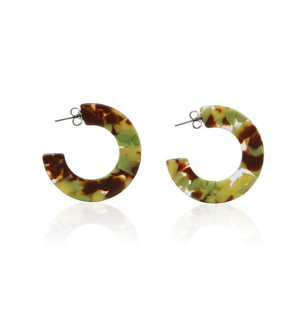 Creole Hoop earrings - Flowery tortoiseshell