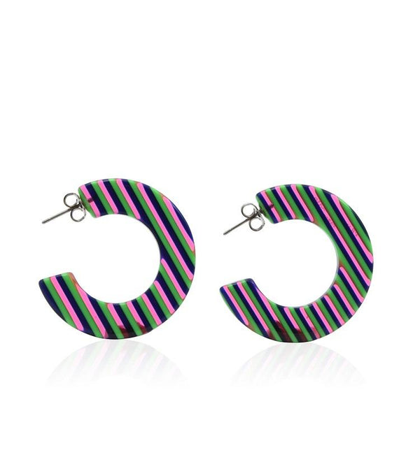 Creole Hoop Earrings - Green Stripe