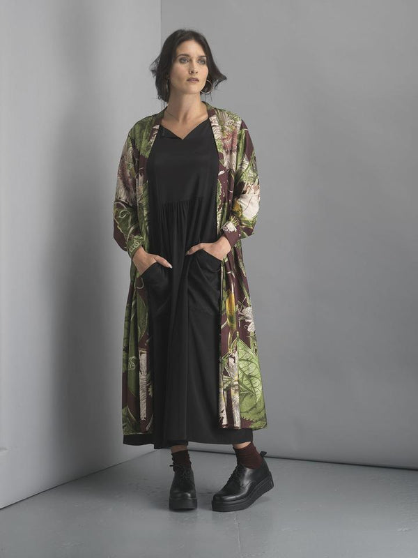 Kew Royal Botanic Gardens Passion Flower Burgundy Duster Coat