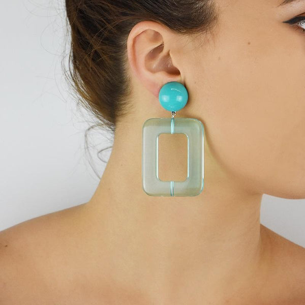 FL Large Rectangular Earrings - Turquoise