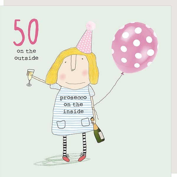 Girl 50 Greetings Card