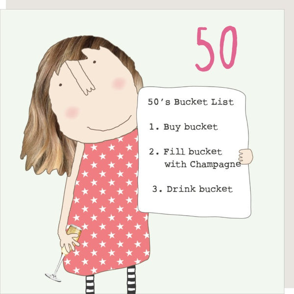 Girl 50 Bucket List Greetings Card