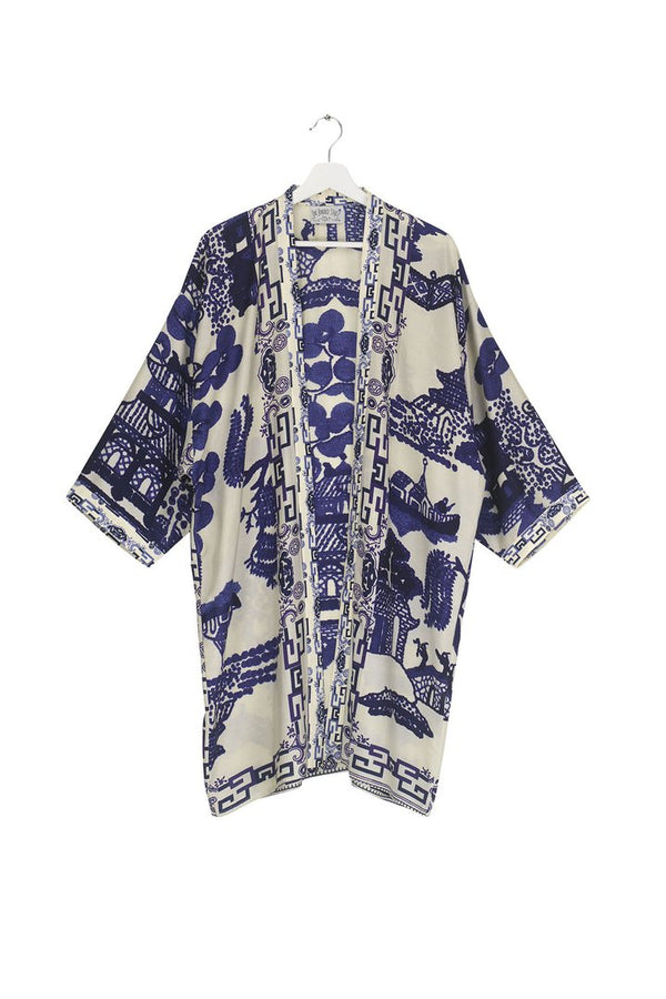 Blue Giant Willow Collar Kimono