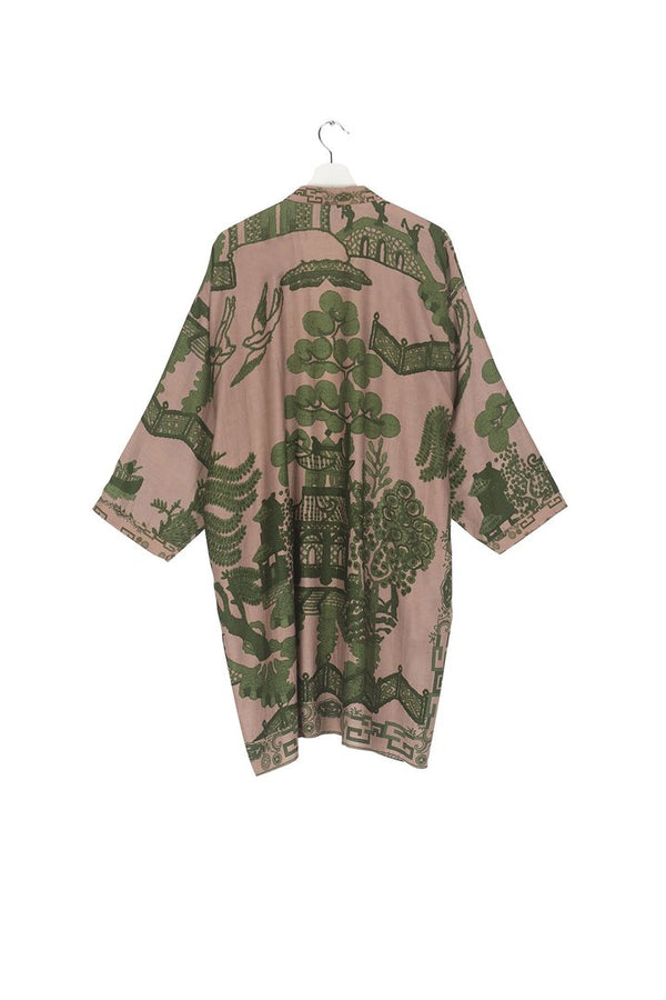 Green Giant Willow Collar Kimono
