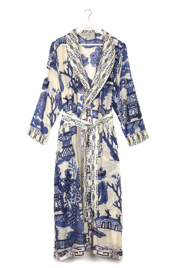 Giant Willow Dressing Gown Blue and White