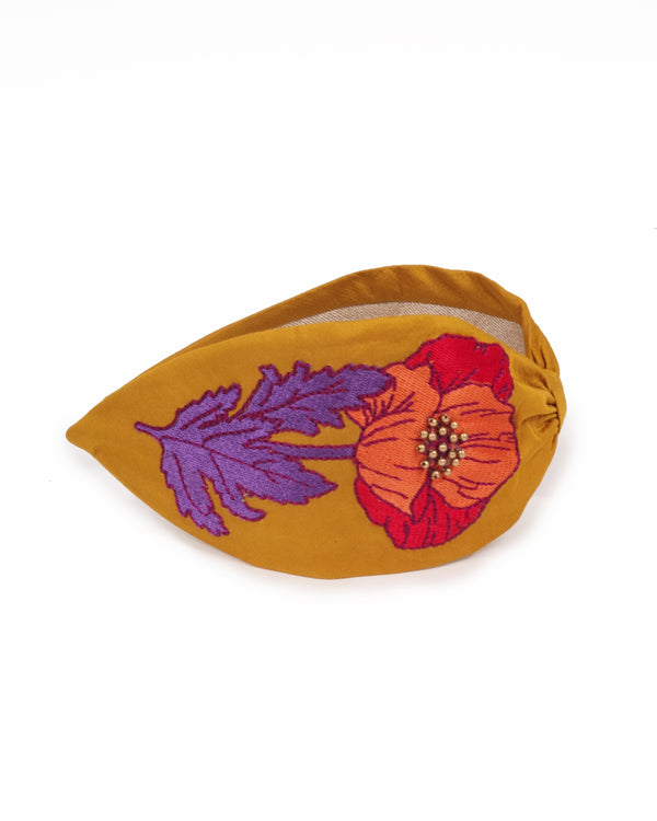 Embroidered Headband Poppy