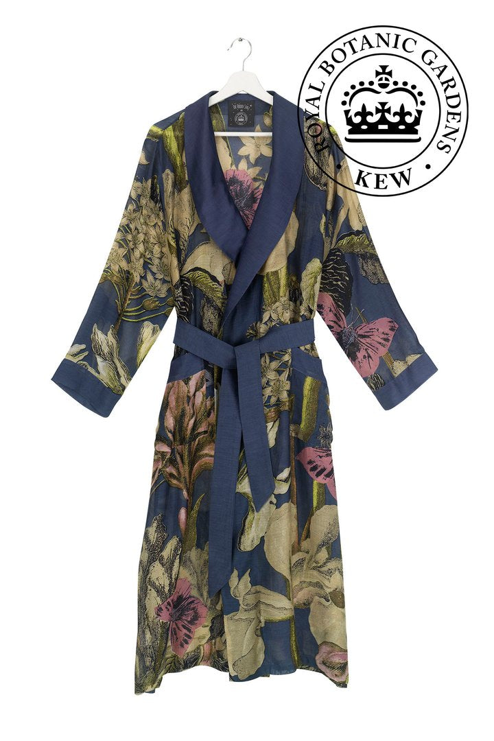 KEW ROYAL BOTANIC GARDENS IRIS BLUE DRESSING GOWN