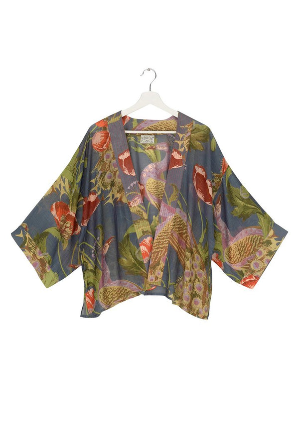 Peacock and Poppies Grey Kimono