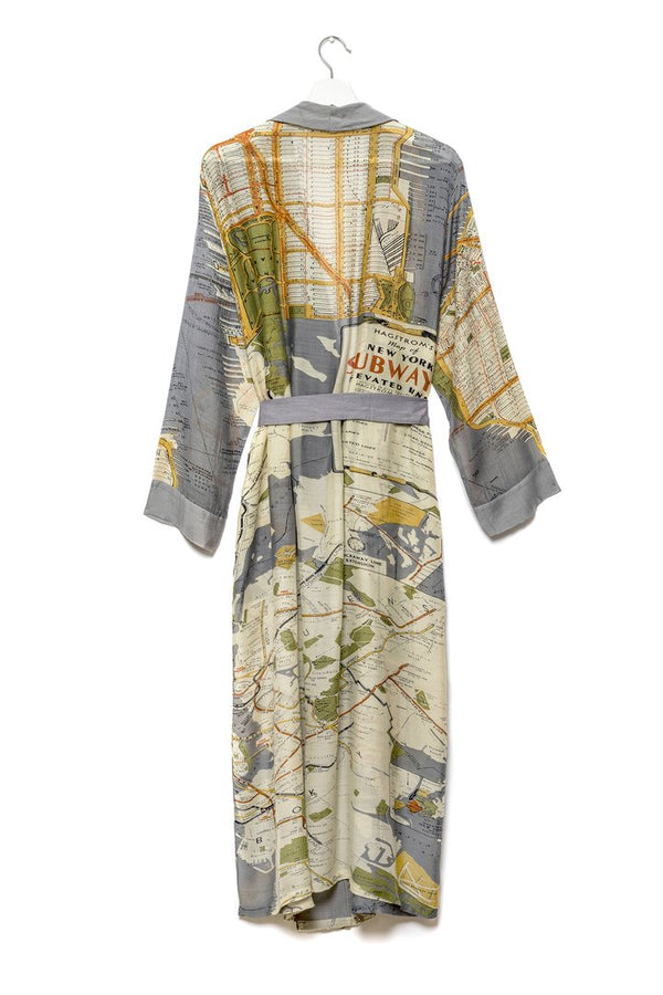 New York City Grey Map Dressing Gown