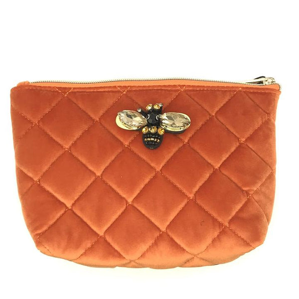 Large Velvet Make Up Bag with Detachable Bumble Bee Brooch - Coral