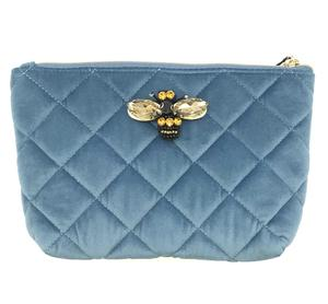 Large Velvet Make Up Bag with Detachable Bumble Bee Brooch - Malibu blue