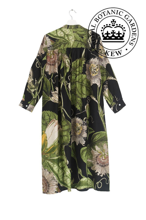 Kew Royal Botanic Gardens Passion Flower Black Duster Coat
