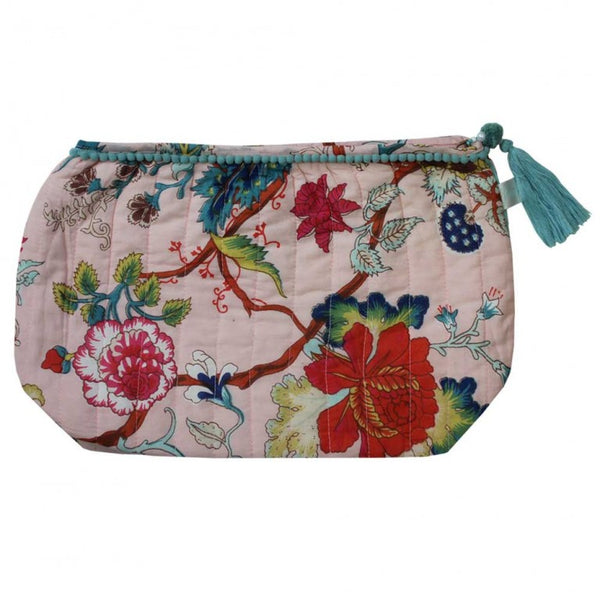 Pink Floral Lined Wash Bag
