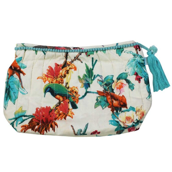 Turquoise Hummingbird Print Lined Wash Bag