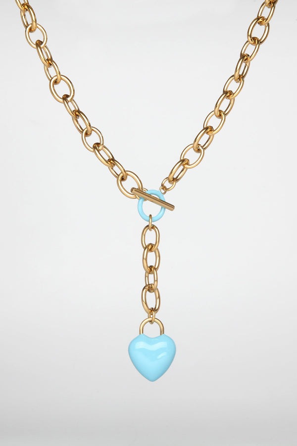 The Kiss Necklace Blue