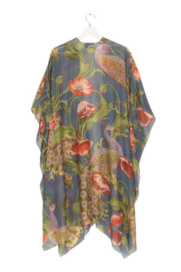 Peacock and Poppies Grey Throwover
