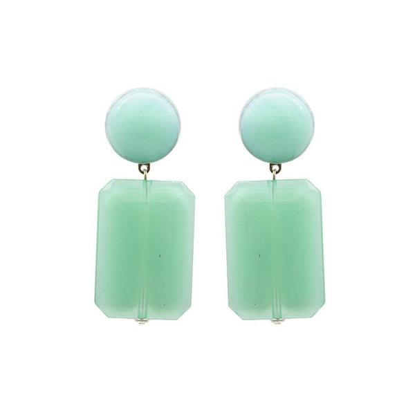 Vendome Rectangle drop Earrings - Mint Green