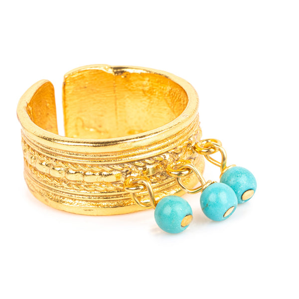 Horai Textured Band Ring with Turquoise Beads
