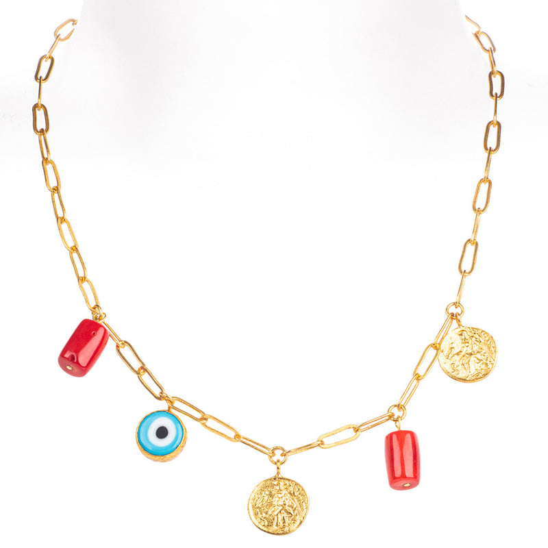 Cornicello Coral and Gold Charm Chain Necklace