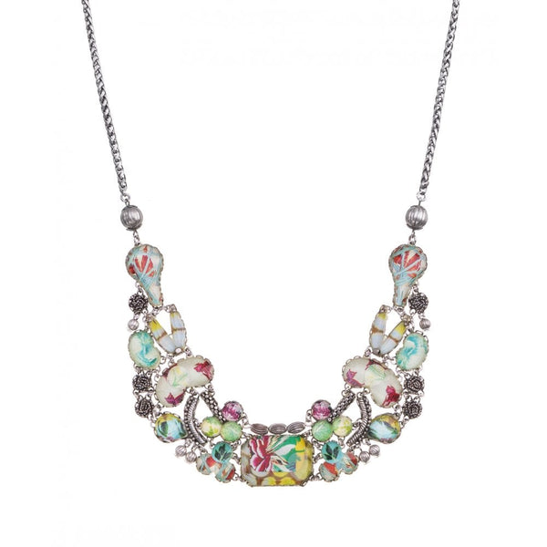 Full Moon Radiance Multi Glass Statement Necklace With Silver Tone Beading - R3172