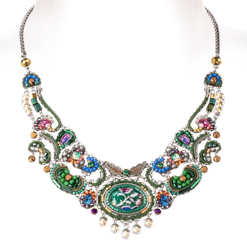 Magical Mystery Classic - Large wide statement necklace green, red, pink, orange and blue - C3199