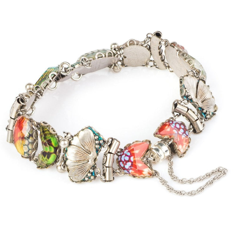 Radiance Multi Glass Bracelet with Flower Designs - R4022