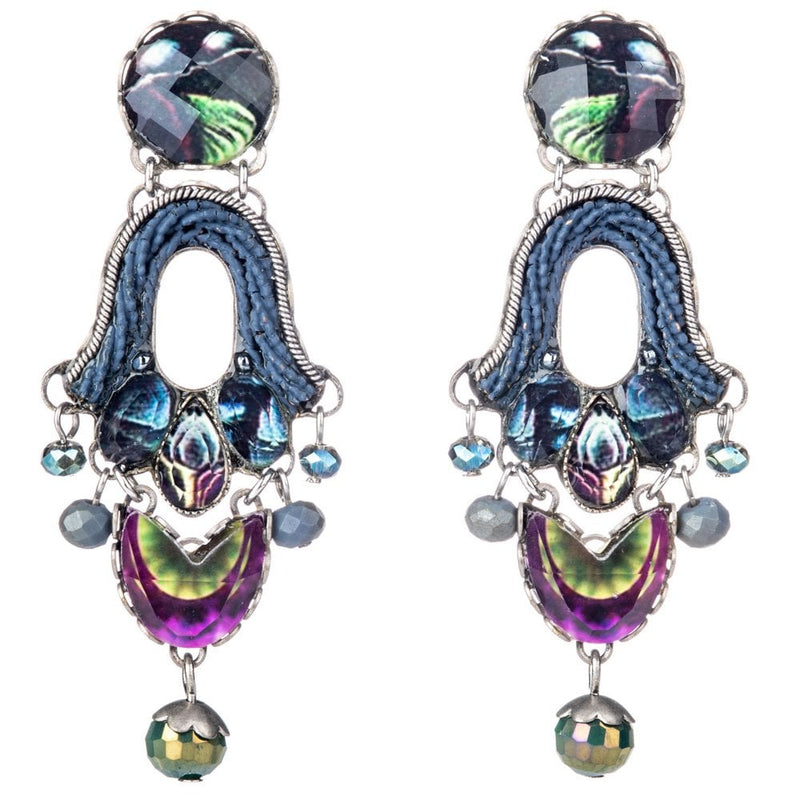 Rain Forest Radiance long drop post earrings - R1507
