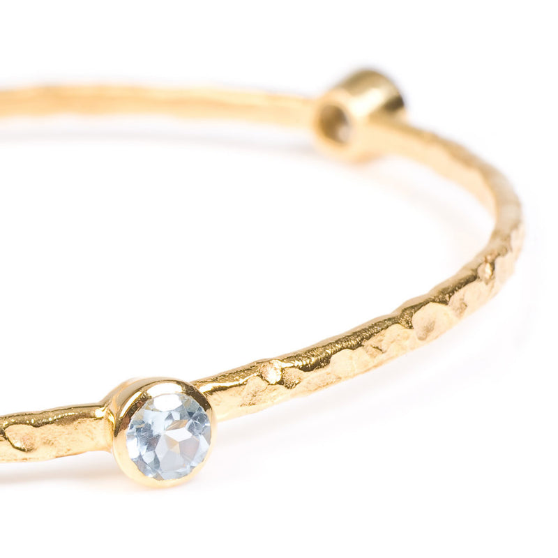 Stacking Bangle with semi-precious stones (gold/blue topaz)