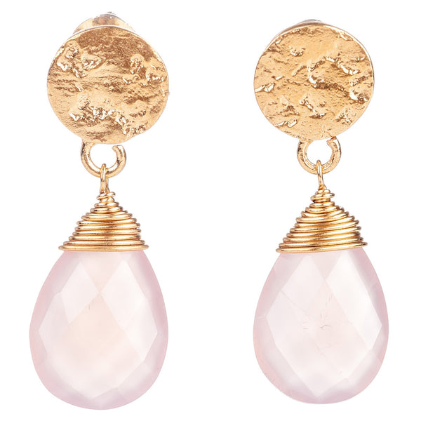 ATHENA KATE GEMSTONE DROP EARRINGS: GOLD PINK CHALCEDONY