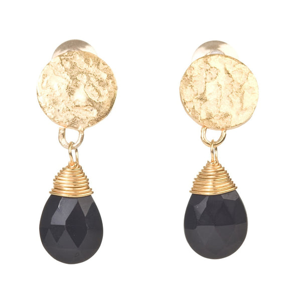 disc stud earrings with drop stone (onyx)