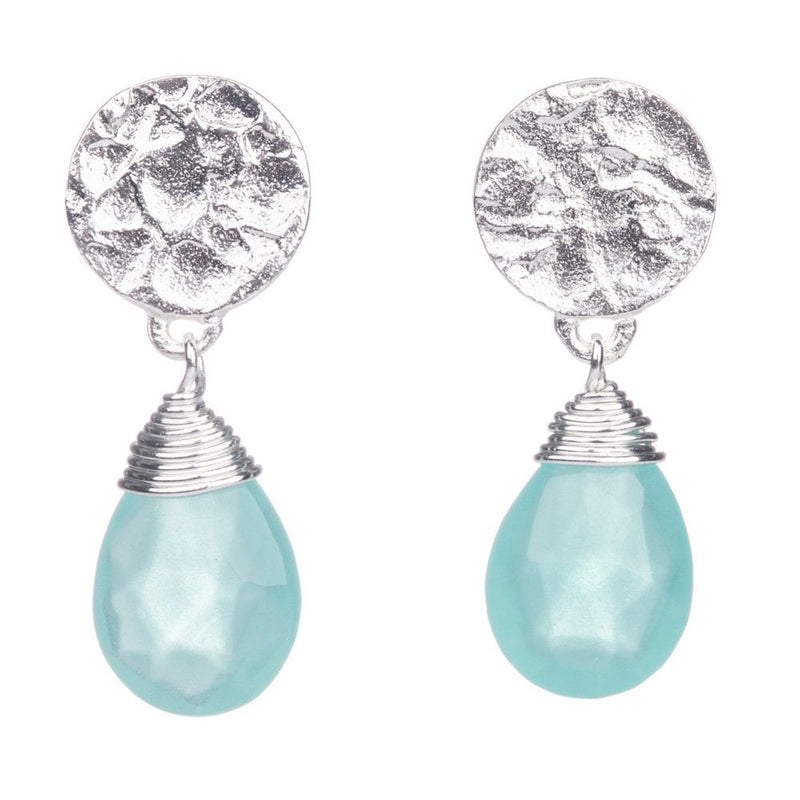 Disc Stud Earrings with drop stone (Silver/Aqua Chalcedony) - ETH/EST1