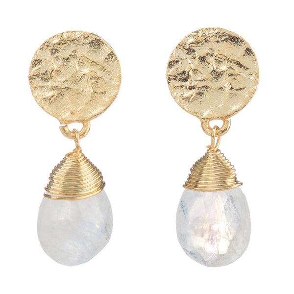 Gold Tone Disc Stud Earrings with Moonstone Drop - ATH/EST1