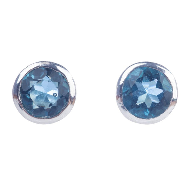 silver plated stud earrings (iolite)
