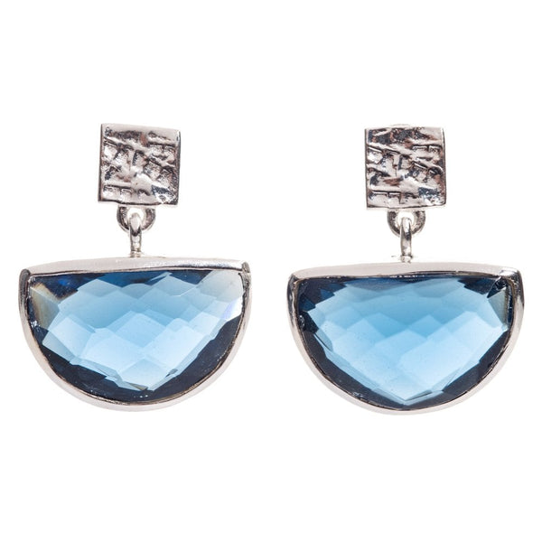 Skylar Half Moon Earrings Silver Plated Iolite - ATH/E33