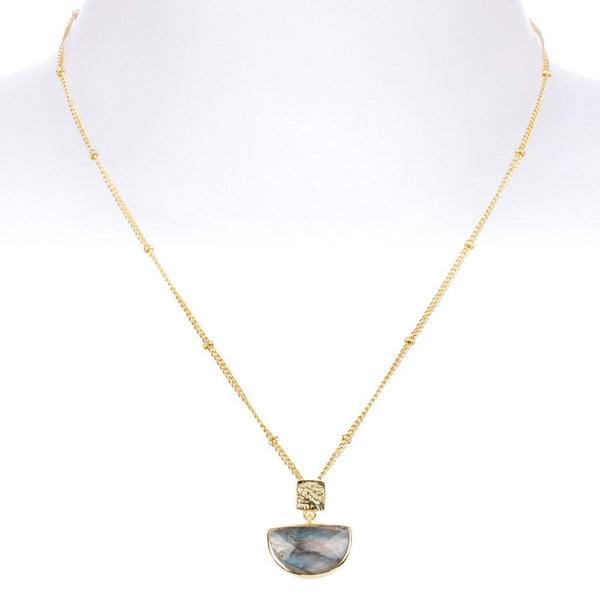 Skylar Half Moon Necklace Gold Plated Labradorite - ATH/N33