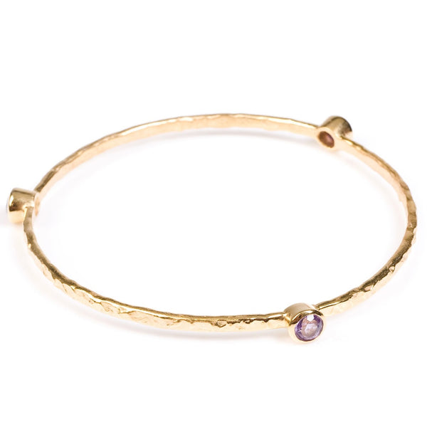 stacking bangle with semi-precious stones (gold/amethyst)